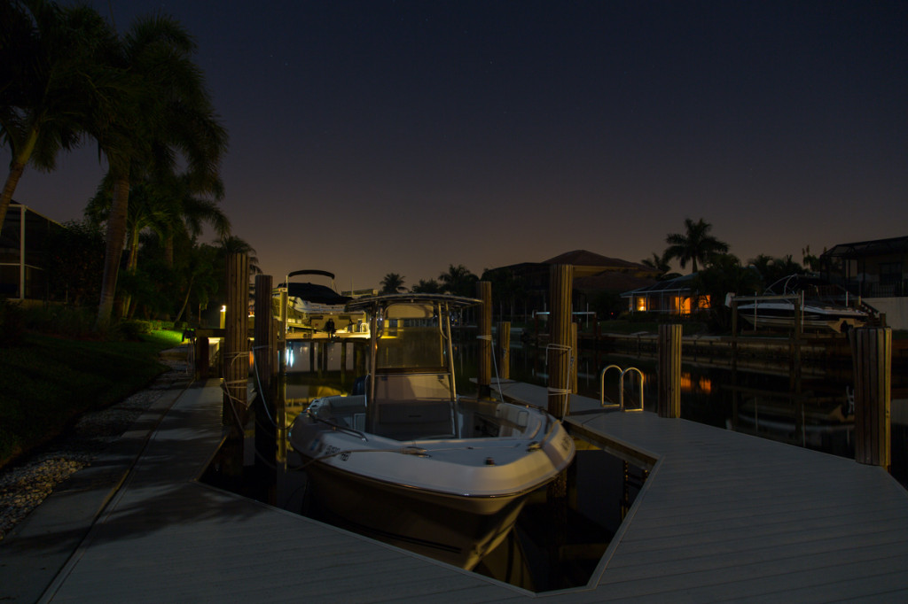 Boat at dock, Marco Island.